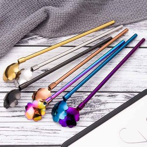Flower Drinking Long Straw Spoon Stainless Steel Long-Handle Mixing Spoons Coffee Milk Tea Blender Kitchen Bar Tool CGY195