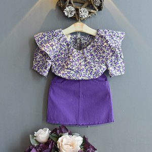 Clothing Sets Girls Kids Suits Baby Outfits Summer Cotton Short Sleeve Floral Tops Shirt Skirts 2Pcs Children 2-6T B4587