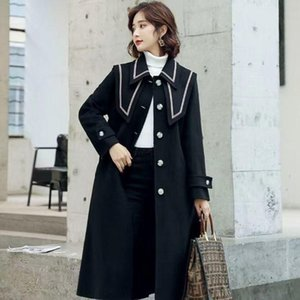 Women's Trench Coats Windbreaker Safars Japan Style Mujer Spring Autumn Slim Lapel Ladies Cloak Red Long Coat