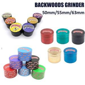 Backwoods Stampa Erba Grinder 40mm 50mm 55mm 63mm Diametro Diametro 3 Stili Secco Tabacco Vape Crusher Smasher Metallo Mano Muler Smoking Ecig Acessories
