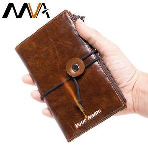 Men Wallets Rfid Genuine Leather Purse For CardHolder Luxury Wallet Male Long Clutch Bag Passport Drawstring Design 7425