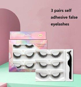 3 Pairs False Mink Eyelash Set Self Adhesive Eyelashes Natural Thick Long Cross Eye Lashes Wispy Makeup