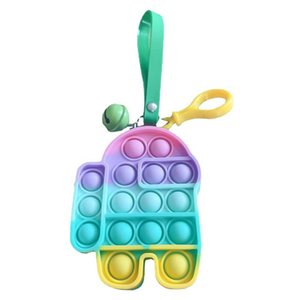 With Bell Push Bubble Fidget Toy Purse Coin Bag Wallet Lanyard Sensory Simple Key Ring Kids Christmas Fingertip Popper Keychain Earphone Case Pouches G9721QS