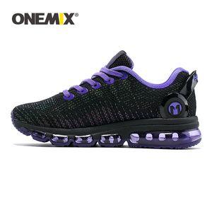 Onemix الرجال الاحذية عاكس الرقع الهواء وسادة الهواء التدريب النساء الرياضة السوداء الركض أحذية المشي الرحلات أحذية رياضية