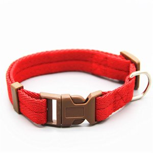 Classic Solid Colors Basic Pet Dog Collars Polyester Nylon Dog Collars with Quick Snap Buckle CCF5668