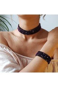 Earrings & Necklace Women's Fashion Jewelry Handmade Crystal Stone Purple-blue Reflection Colorful Choker