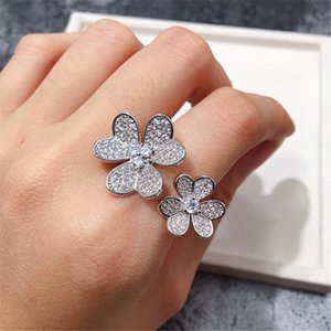 Fashion Classic Lucky 4 Four Leaf Clover 3 Flowers Open Band Rings with Diamonds S925 Silver 18K Gold for Women&Girls Valentine's Mother's Day Engagement Jewelry Gift