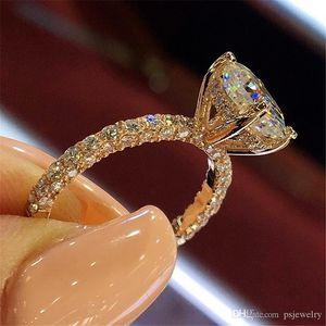 Женские дизайнерские кольца романтические циркона сияющие принцессы кольцо овальный камень свадебные свадебные моды ювелирные изделия для womenta025