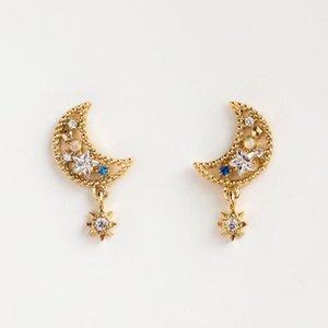 Stud Minimalist Gold Plated Color Moon Star Blue Cz Earrings Asymmetric White Opal Pendant For Women
