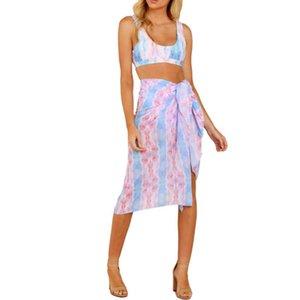 Женский праздник цветочные принты бикини прикрытие бикини поблизости пляжная одежда шифон пляж богемный полотенце женщины купальники юбка одежда LL3