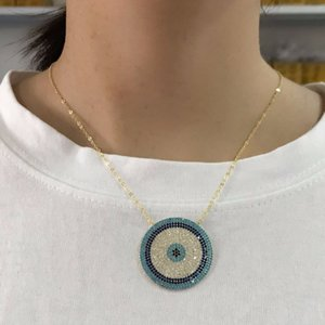 Necklaces Top Quality Elegant Fashion Turkish Evil Eye Round Neckalce Paved Blue and White Cz Shiny Necklace for Women Wediing Gift