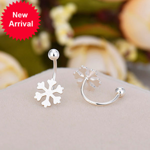 Luxury Female Snowflake Earrings 100% Real 925 Sterling Silver For Women Charm Wedding Small Stud