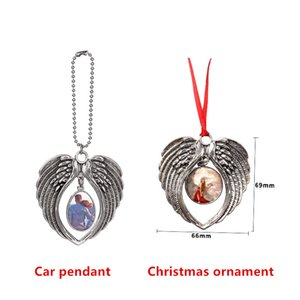 Sublimation Blank DIY Metal Hanging Ornament Retro Style Angel Wings Car Ornament Christmas Tree Decorative Pendant with Blank Aluminum Sheet