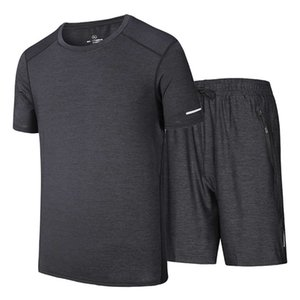 Mens New Arrival Tracksuits Sets Casual Gyms Fitness Suit Male Sports Suit O Neck T-Shirts and Shorts Plus Size