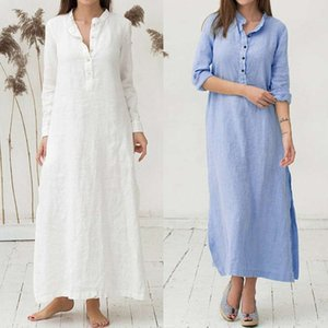 Dresses Women Summer Casual Loose Ladies Cotton Sleeve Plain Casaul Oversized Maxi Long Shirt