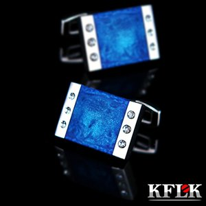 KFLK Jewelry French shirt cuff links for mens Brand Blue Enamel Cufflink Male Luxury Wedding Button High Quality guests Great workmanship durable and nice