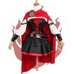 Ruby Rose Cosplay RWBY 3 Season Red Dress Cloak Battle Uniform Costume Fashion designer women's skirt