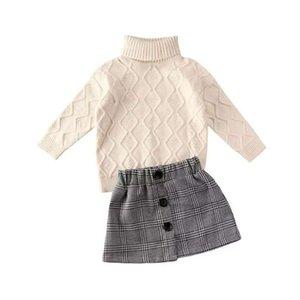 키즈 의류 세트 소녀 복장 어린이 높은 칼라 스웨터 탑스 + 버튼 격자 무늬 스커트 슈트 봄 가을 패션 부티크 아기 옷 Z2676