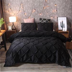 Luxury Black Duvet Cover Pinch Pliegue Clea de cama Conjunto de ropa de cama Reina King Tamaño 3 unids Conjunto de ropa de cama Conjunto de cobertura de edredón con funda de almohada45 369 V2