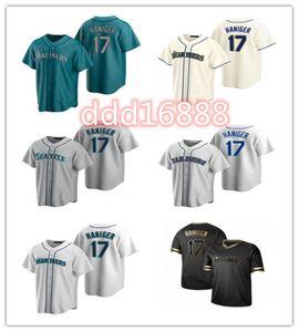 2021 Mariner Homens Mulheres Juventude 17 Mitch Haniger Custom Beisebol Jersey Em Branco Aplica Azul Branco Cinza