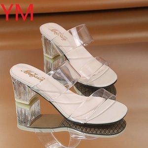 2020 HOT Clear Heels Slippers Women Sandals Summer Shoes Lady Transparent PVC High Pumps Wedding Jelly Buty Damskie High Heels K78