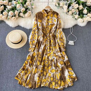 Robe CroySier Femmes ES Fashion Serpentine Imprimer Elegant Vintage Stand Col à manches longues Simple Courtiers Midi Shirt I0up