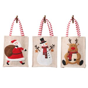 linen Christmas Handbag Children Candy Bags Embroidered Cartoon Santa Claus Old Man Gift Bag Ornament HH21-472
