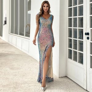 2021 Sexy Deep V Neck Backless Sequin Dresses High Split Bodycon Maxi Dress Female Evening Party Prom Gown