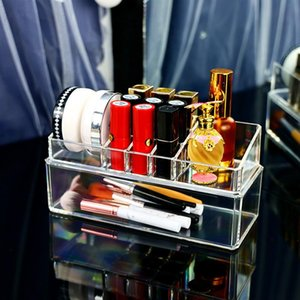 Makeup Organizer Box Acrylic Storage Perfume Lipstick Holder Jewelry Nail-Polish Cosmetic Brush Desktop Sundries Case With Lid Boxes & Bins