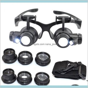 10X 15X 20X 25X Magnifying Glass Double Led Lights Eye Glasses Lens Magnifier Loupe Jeweler Watch Repair Tools Rtqsd 6Nfoz