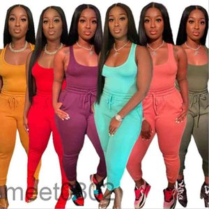 Women Two Piece Pants 2021 summer Designer Fashion women's Solid color U neck Sportswear Outfits sleeveless waistcoat trousers rope casual Suit