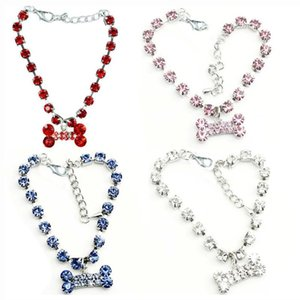 Fashion Jewelry Puppy Dog Cat Collar Design Crystal Rhinestone Bone Charm Pendant Metal Neckalce Pet Wedding Accessories Collars & Leashes