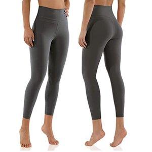 Mulheres 7/8 Yoga Fitness usa calças apertadas cintura alta elevador de quadril calças de esportes 25 polegadas