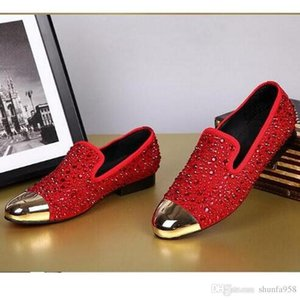 Nueva Llegada Moda G Z Rhinestone Zapatos casuales Rojo / Negro / Gold Crystal Oxfords Mens and Womens Flat Dress Shoes Body Party