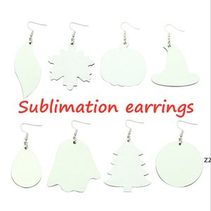 HOT! Sublimation Earrings DIY PU blank white earrings creative trinkets women fashion styles INS decoration two-side HWF8469
