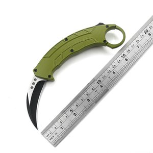 Outdoor Survival Automatic Knife Double Action Scimitar Sharp 440C Blade Aluminum Green Handle Camping Adventure Kitchen EDC Tool