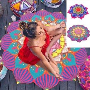 Круглая и мандала Цветочный цвет Цвет Мода 150см Летнее Удобное Мягкое Пляжное Полотенце Индийская Лотос Коврик Yoga Tastase Tepestry Главная Текстиль