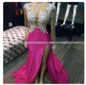 2021 Rosa Moderna Longa Prom Vestidos Cap Sleeves Split High Sexy Vestidos de Noite