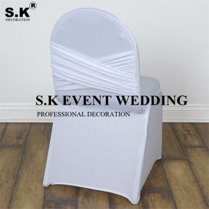Sedia Copre Bello Guardando il premium Madrid Lycra Spandex Cover Banchetto con Swag Indietro per la decorazione dell'evento di nozze