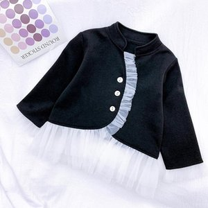 Spring Fall Casual Girl Jacket Elegant Long Sleeve Little Outfits Patch Baby Outwear Fashion Lace Kids Costume Jackets
