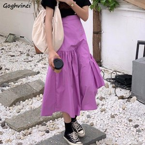 Skirts Women Vintage Korean Simple Asymmetrical Design Summer Chic Teens Skirt All-match Empire Trendy Basic Womens Clothing