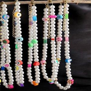 Подражать жемчужным бусинам ожерелье из бисера Choker для женщин девушки богемные бусины шарик ювелирные изделия нерегулярные из искусственных жемчуг ожерелья с очаровательными