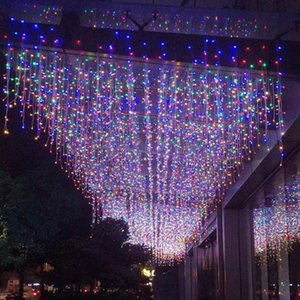 Strings 5M Led Curtain Icicle String Lights Outdoor Festive Waterproof 96leds Wedding Garland Light For Garden Mall Party