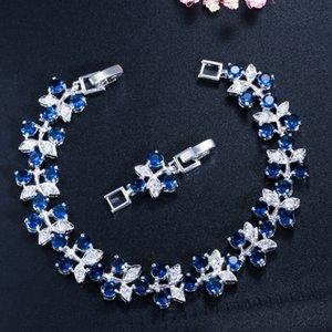 Blue Flower Tennis Charms Bracelets for Women Rose Gold Plt Chain Link Bracelet&Bangle EU US Style Jewelry1 355 Q2