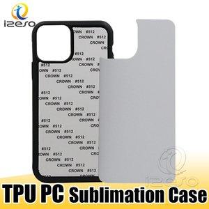 TPU PC Boş 2D Süblimasyon Kılıfları Baskı Telefon Kılıfı Ile Alüminyum Ekler Ile Iphone 12 Pro Max 11 XR 8 Samsung S21 Izeso