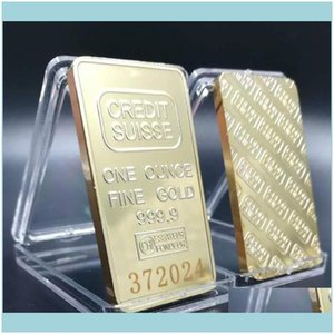 Arts And Arts, Gifts Home & Gardencredit 1 Crafts With Ingot Gold-Plated Coins Suisse Numbering Souvenir Laser Non-Magnetic Swiss Oz Gold Di