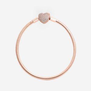 Bracelete de desenhista Moda Luxo 18K Rosa Gold Cz Diamond Heart Caixa Original S para Pandora 925 Prata Snake Chain