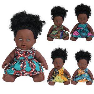 30cm 12inch Black Reborn Doll Afro Hair Boneca Pop Dolls Childs Newborn Full Silicone Poupee Baby Girl Gift Toys