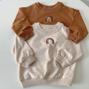 Autumn Toddler Baby Girls Boys Rainbow Embroidery Sweatshirts Tops Kids Long Sleeve T-shirt Sweatshirt Clothes Outfits