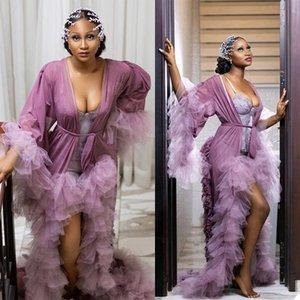 Tiered Ruffles Sleepwear Maternity Dress for Photoshoot Bathrobe Sexy Sheer Full Sleeve Prom Gowns vestido de fiesta abiye kaftan